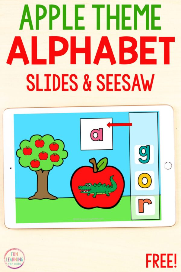 Apple theme beginning sounds activity for Google Slides and Seesaw.