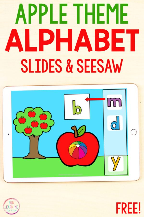 Free apple theme alphabet activity for Seesaw and Google Slides.