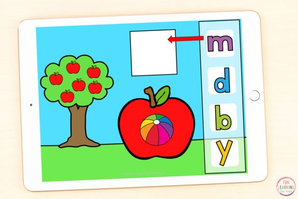 Free Google Slides and Seesaw alphabet activity for your apple theme.
