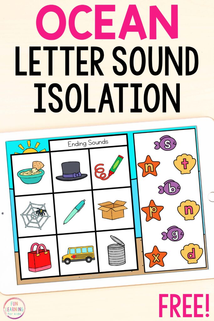 Free digital ocean theme letter sound isolation CVC activity for kindergarten, first grade and second grade.
