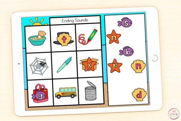 Free ocean theme letter sound isolation phonics activity that students can use on Seesaw or Google Slides.