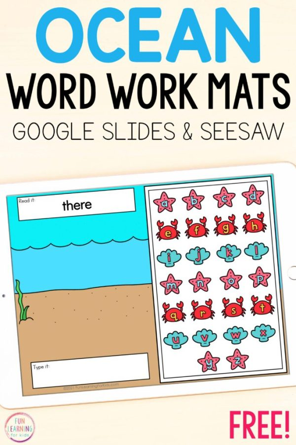 Ocean theme word building literacy activity for Seesaw and Google Slides.