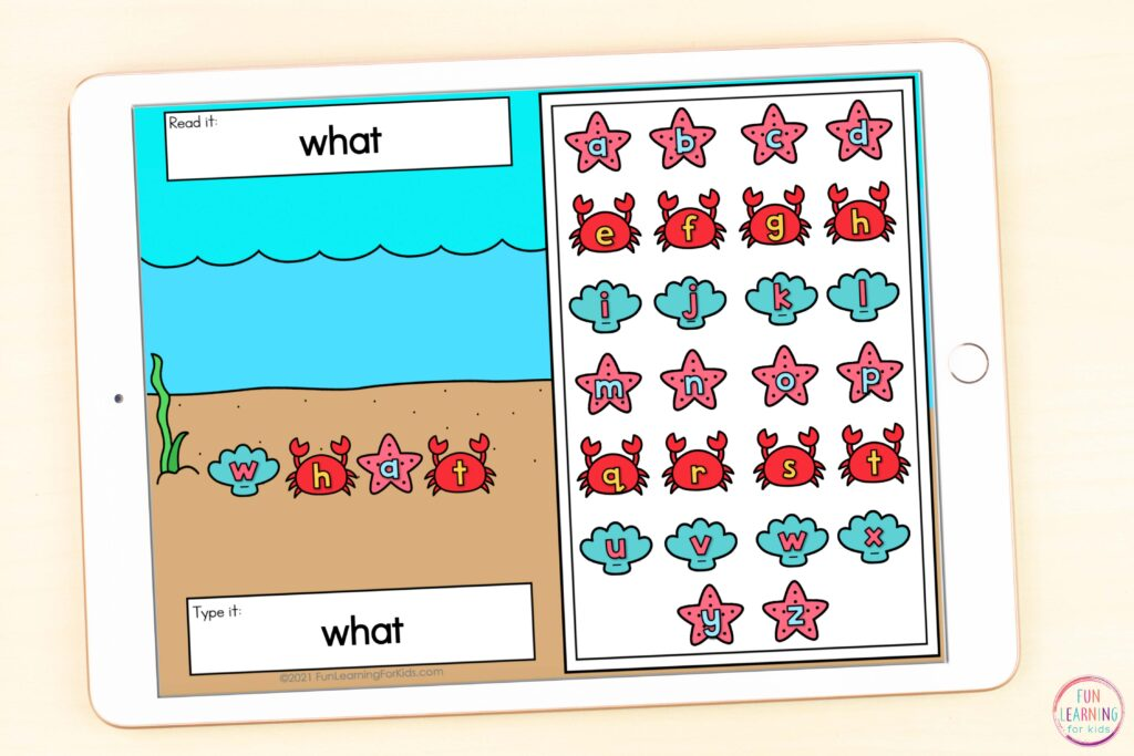 Ocean theme word work activity for literacy centers in kindergarten, first grade, second grade, and third grade.