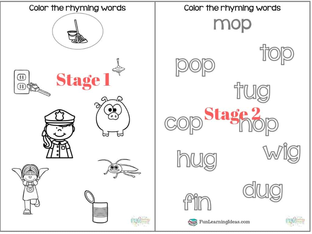 Color The Rhyme Hands On Free Rhyming Words Worksheets