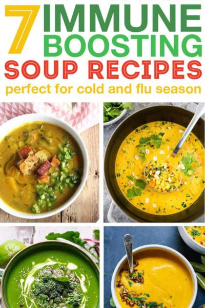 Fill up with immune boosting soups to help your body stay healthy during cold and flu season. These soups have beneficial ingredients to boost your immune system and help you feel good! #soup #souping #healthyrecipe #immuneboosting #coldfighting