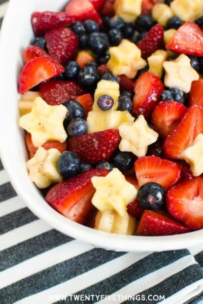 Make an easy red, white, and blue fruit salad for your next patriotic party. Click through for the details on how to make this yourself.