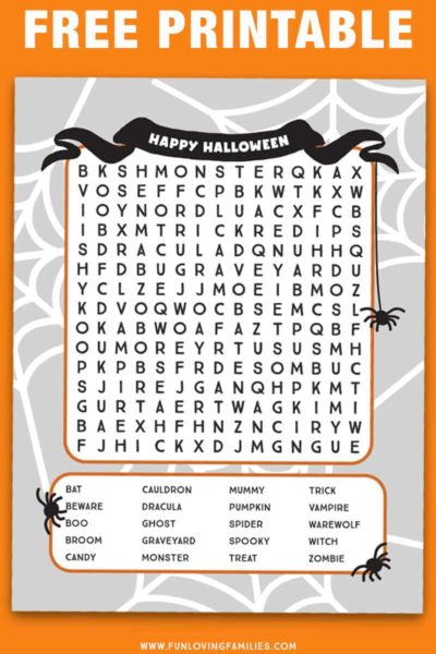 Halloween word search for older kids: This word search is a bit more challenging with words going frontwards, backwards, and diagonally. It's a great printable Halloween activity sheet for older kids. #halloween #printables #activities #wordsearch #olderkids