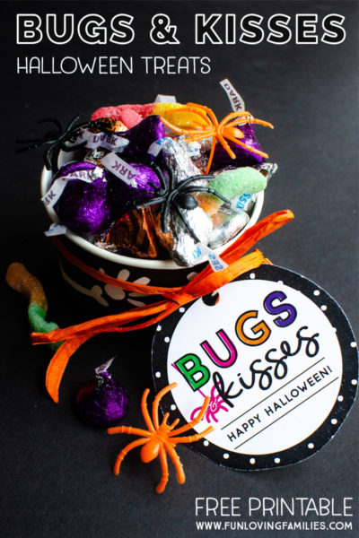 Bugs and Kisses Halloween treat for kids with printable favor tag