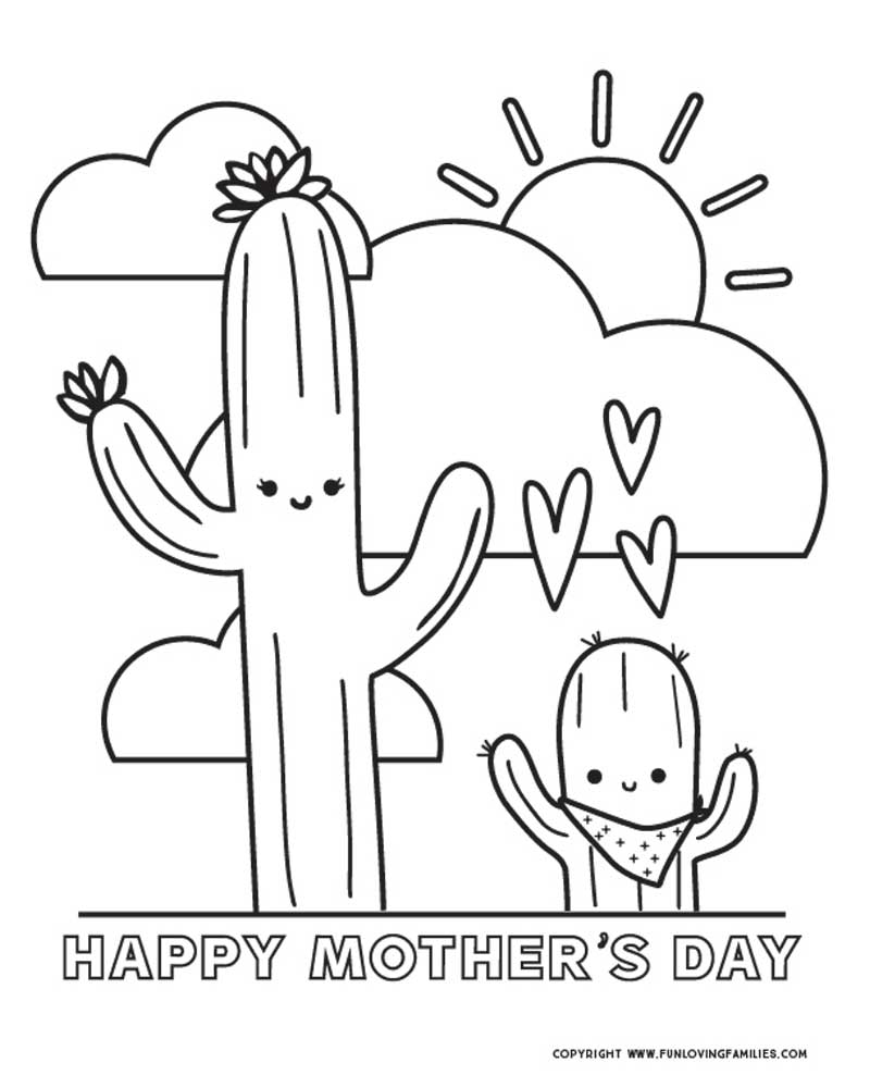 cute mother's day coloring page printable for kids