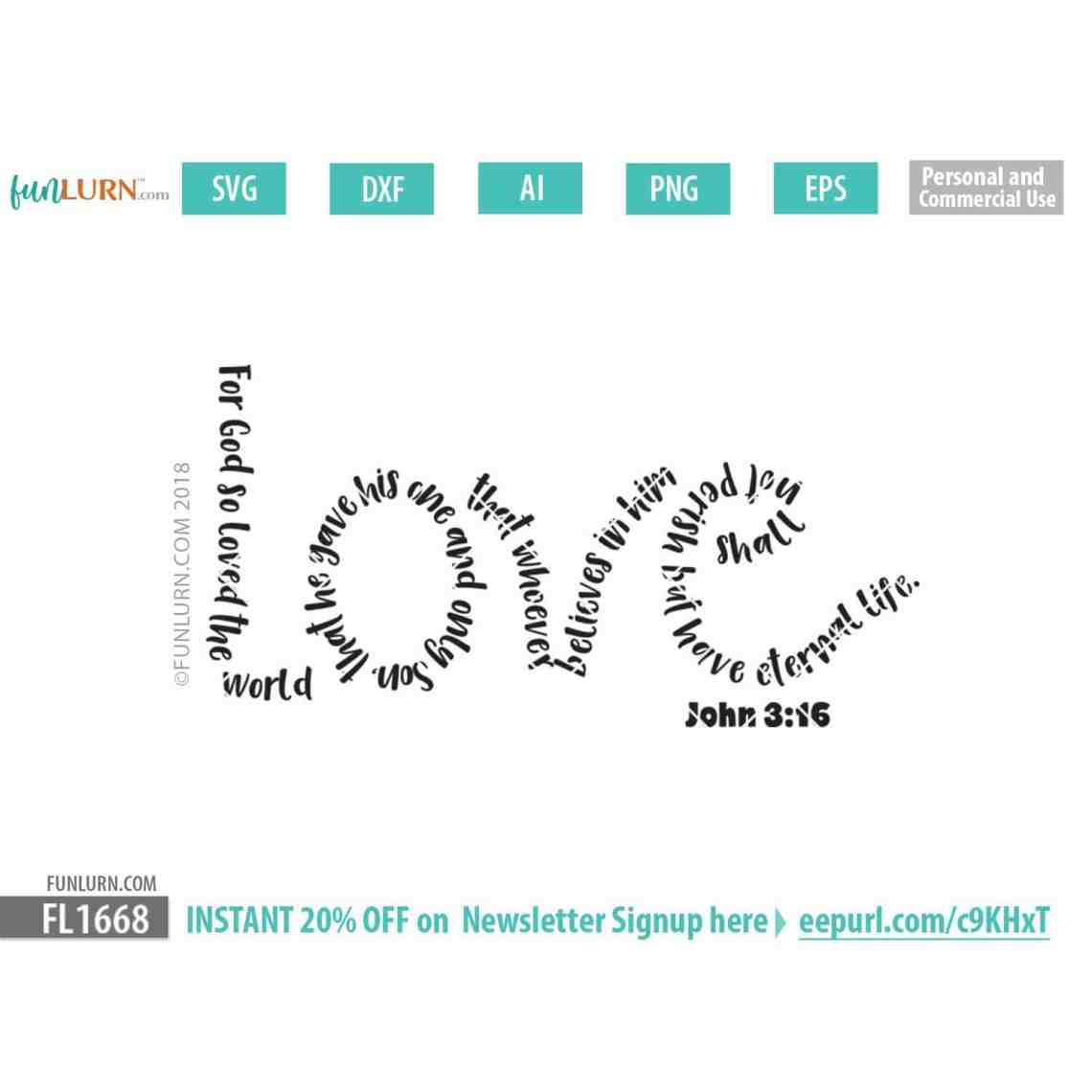 Download Love John 3 16 Bible Verse word art SVG - FunLurn