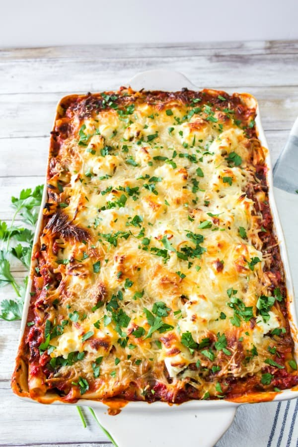 Finished baked ziti with spinach recipe