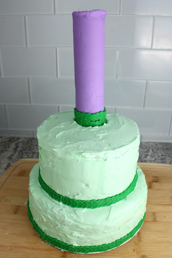 Add fondant ribbon wherever you think it'll make your Rapunzel cake look prettier