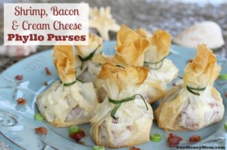 shrimp, bacon and cream cheese phyllo purses feature