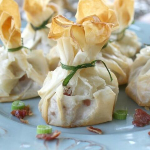 Phyllo Wrapped Shrimp Appetizer With Bacon And Cream Cheese