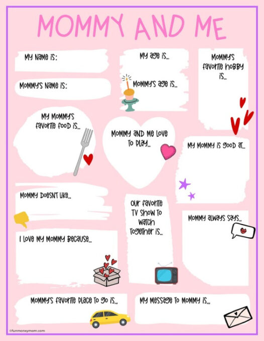 Mommy and Me Mother's Day Questionnaire