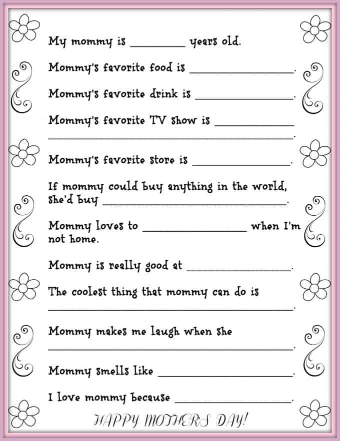 Dad, or even siblings, can help the little ones fill out this Mother's Day questionnaire.