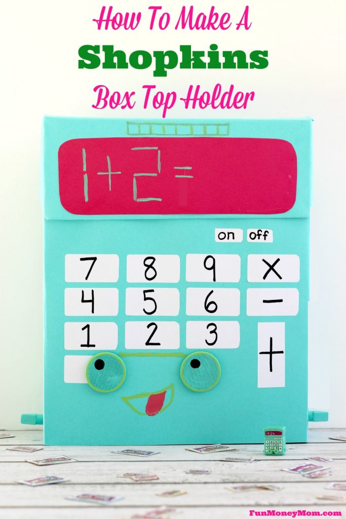 """Your kids will have a blast making this """"Kelly Calculator"""" Shopkins Box to hold all their Box Tops! #ad #costcoboxtops @costco @boxtops"""