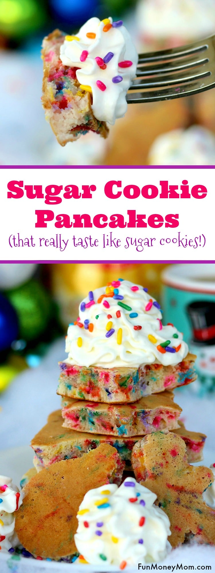 """Want to surprise the kids with a fun Christmas breakfast? They'll love having """"cookies"""" for breakfast when you serve these yummy sugar cookie pancakes!"""