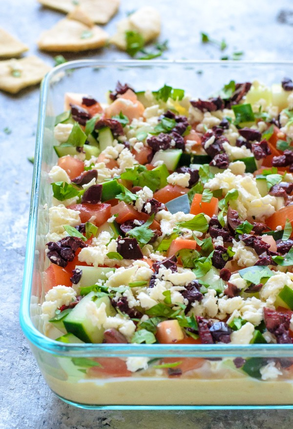 Greek Layer Dip is one of the healthier football food ideas