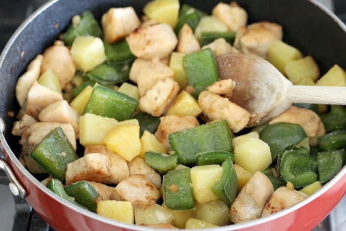 Add the pineapple for the teriyaki chicken skewers