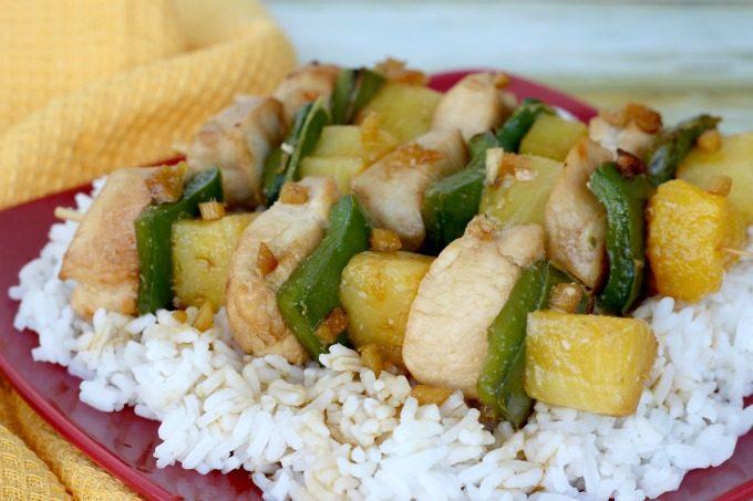 Serve your teriyaki chicken skewers over rice