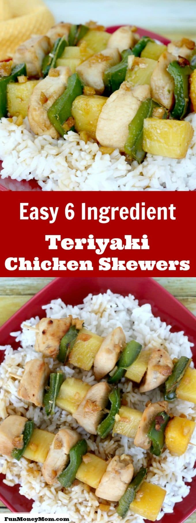 Looking for an easy dinner recipe? These 6 ingredient teriyaki chicken skewers are the best quick and easy recipe for a busy mom!
