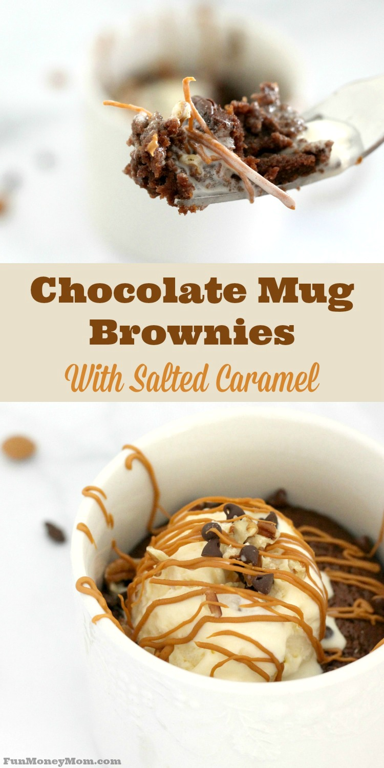Craving chocolate? These chocolate mug brownies with salted caramel will satisfy any sweet tooth.