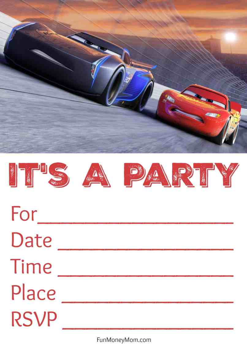 Disney Cars 3 Birthday Invitations Printable Free | Invitationjpg.com
