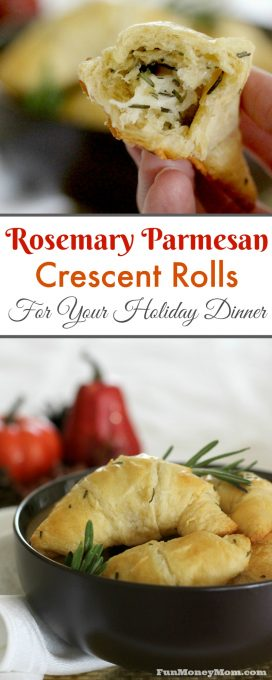 Looking for a delicious side dish for your holiday dinner? This Rosemary Parmesan Crescent Roll Recipe is as easy as it is delicious. Perfect for your Thanksgiving or Christmas dinner, these rolls will have everybody celebrating!