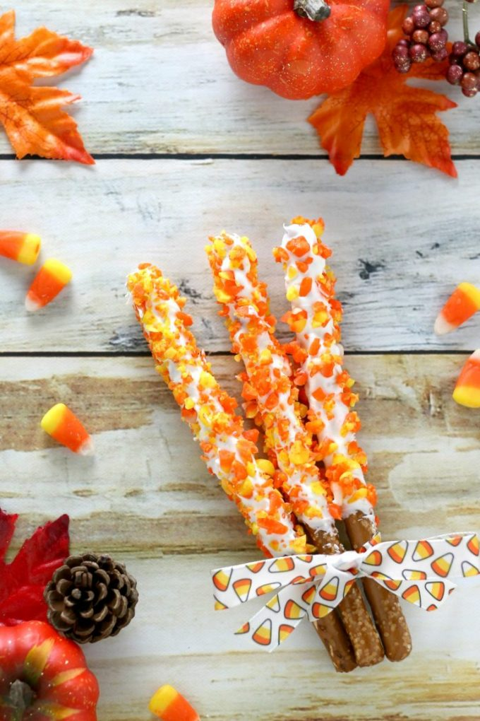 Candy corn pretzels are perfect for Halloween parties.