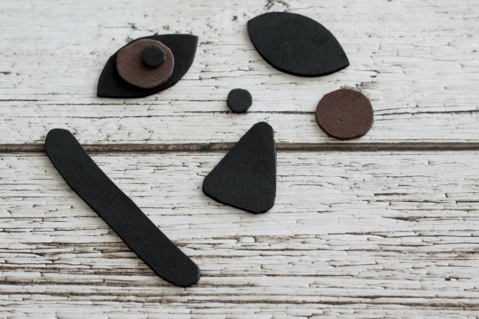 The pieces for the face are fairly simple to make.