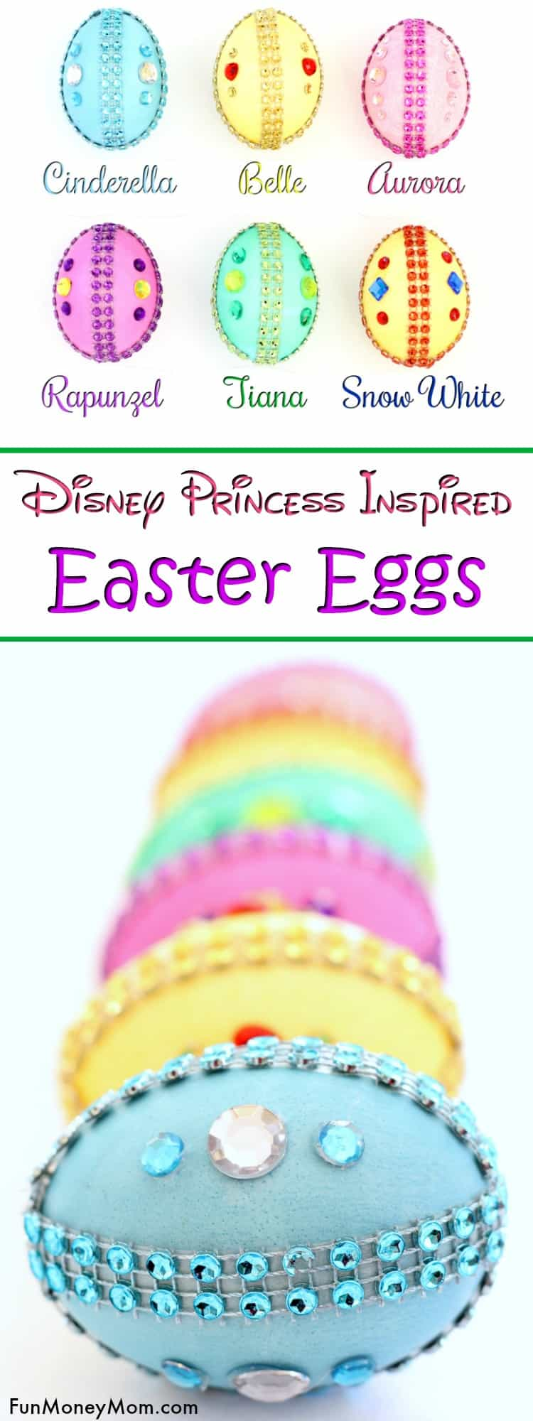 Disney Princess Easter Eggs - Planning on decorating Easter eggs for the holidays? These pretty Easter egg decorating ideas are perfect. If your kids are Disney Princess fans, they'll really love making their own princess inspired jeweled Easter eggs! #eastereggs #princesseggs #eastercraft #eastereggdecorating