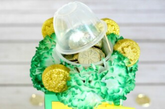 Gold coins surrounded by flowers