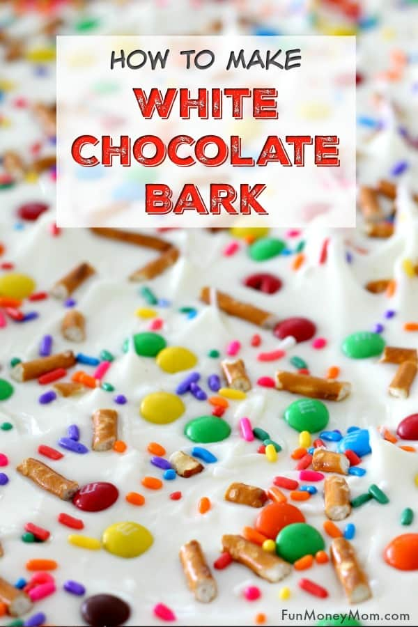 White Chocolate Bark - Want an easy dessert that you can make in 15 minutes? This colorful white chocolate bark recipe is the perfect treat when you need something sweet and you need it fast! It makes a great party food or just a yummy chocolate treat for the family! #whitechocolatebark #chocolate #chocolatebark #dessert #easydessert