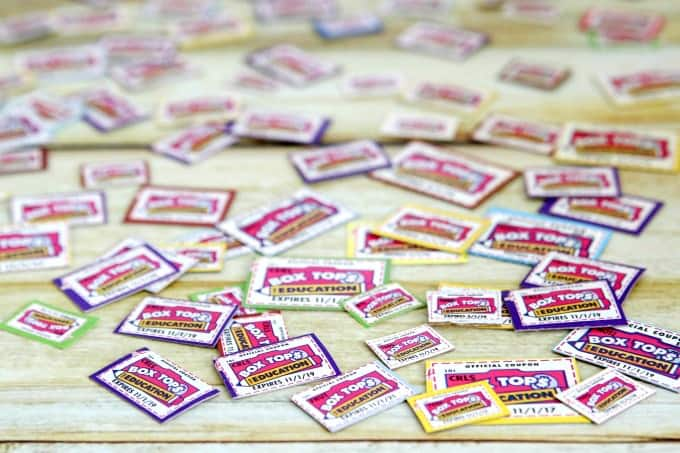 Box Tops spread out on table