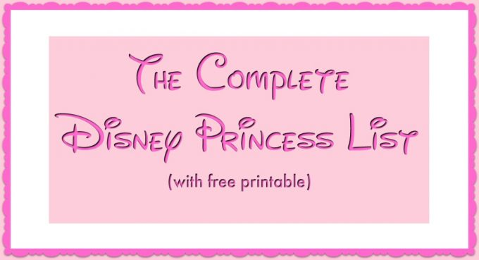Disney Princess List Facebook