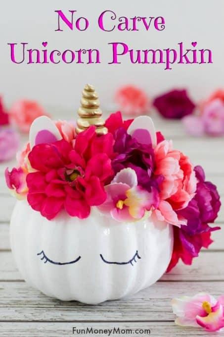 Unicorn pumpkin with flowers all around