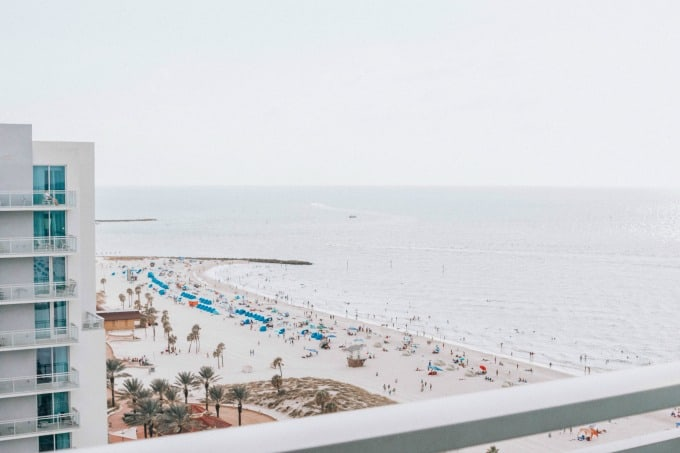 Overlooking the beach from the Wyndham Grand Clearwater Beach
