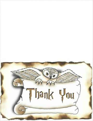 Harry Potter Thank You Card on regular paper