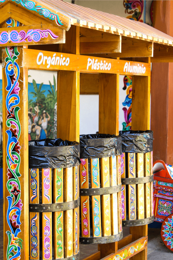 Painted Recycling Bins in Sarchi Artisan Village