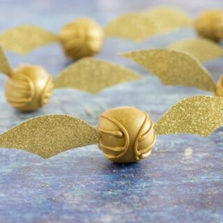 Golden snitch peanut butter balls