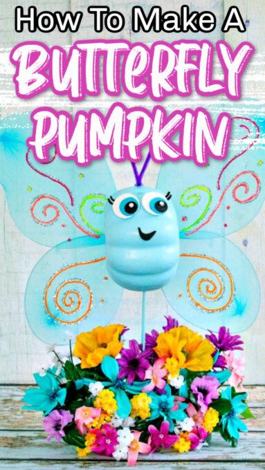 Butterfly pumpkin with flowers