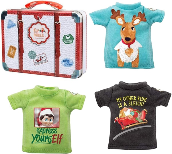 Elf On The Shelf suitcase and t-shirts