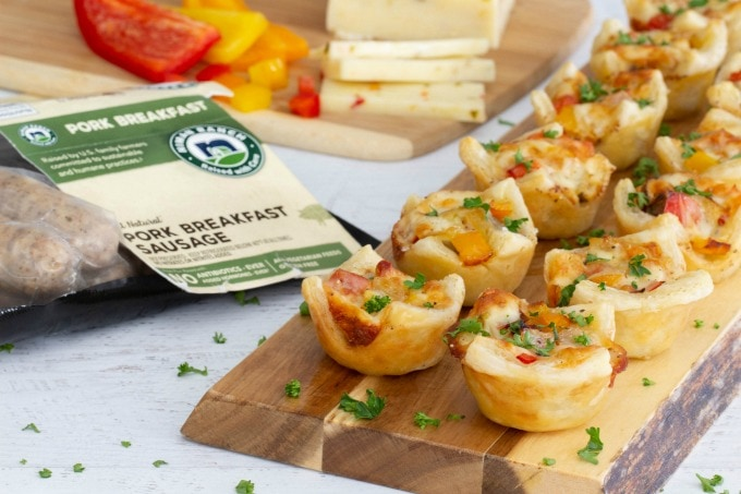 Sausage, pepper and onion puff pastry bites with Niman Ranch sausage