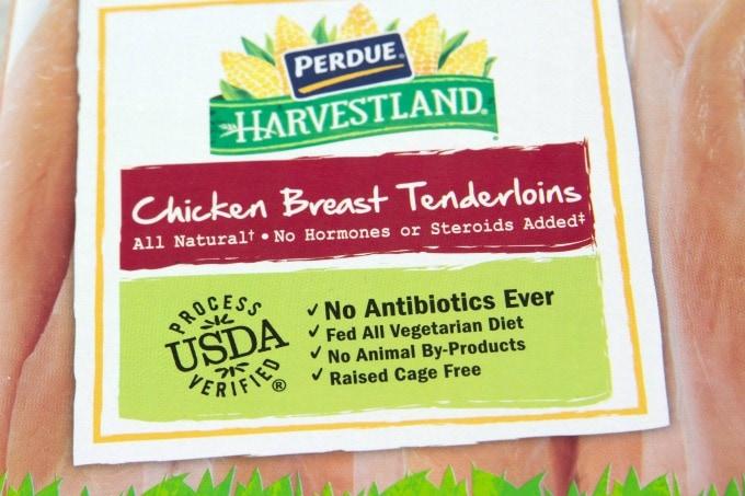 Perdue Chicken Breat Tenderloins label