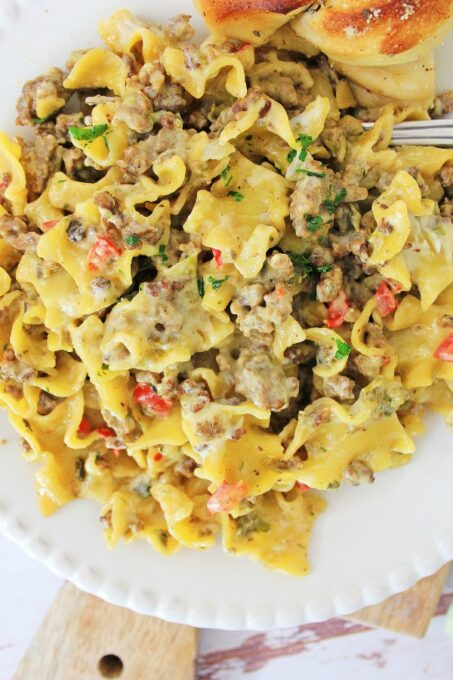 One skillet philly cheese steak pasta from above