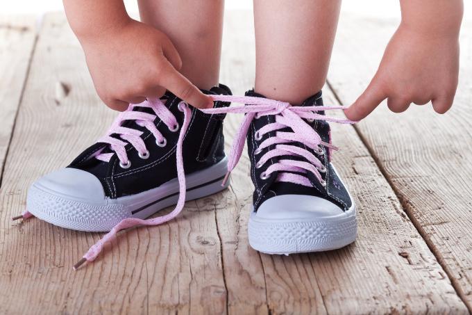 Teach children to tie shoes to get them ready for Kindergarten