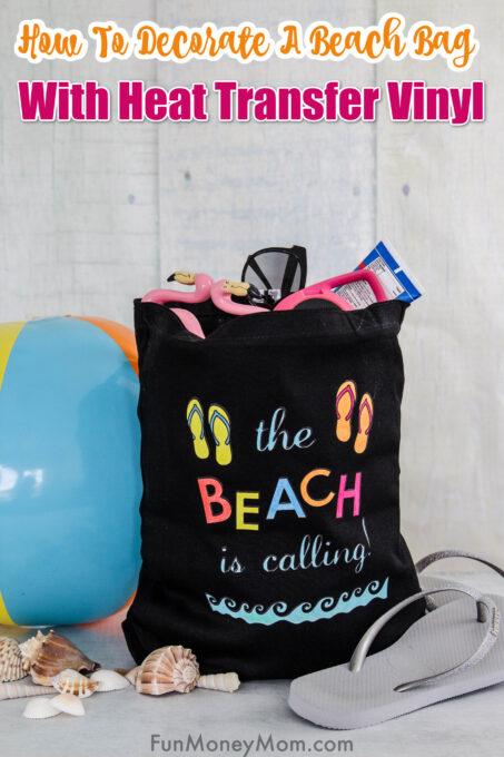 DIY Beach Bag with shells and flip flops