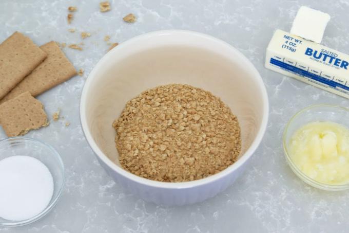 Graham cracker crumbs in bowl
