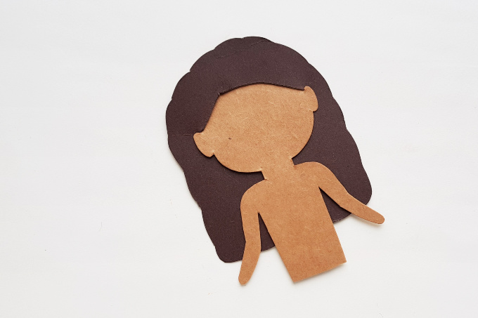Hair for Moana paper doll craft